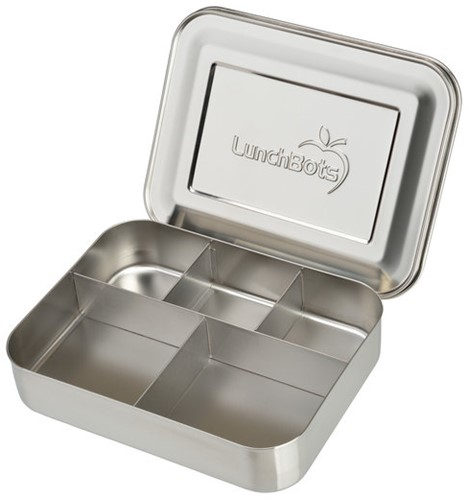 LunchBots Bento Cinco Broodtrommel Staal 20x15x4 - RVS